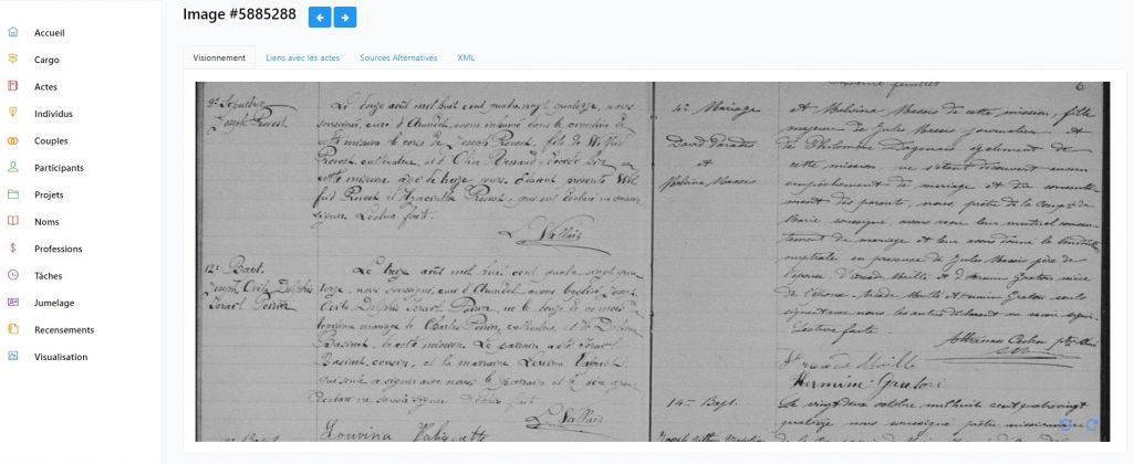 Une page d'un registre paroissial de 1894 dans l'outil de jumelage de BALSAC
